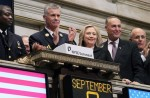 Then-Secretary Hillary Clinton taking part in the ringing of the opening bell at the New York Stock Exchange in September 2011.