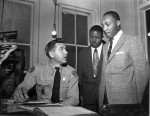 King and Abernathy talking to police during Montgomery Bus Boycott by Gener Herrick for AP
