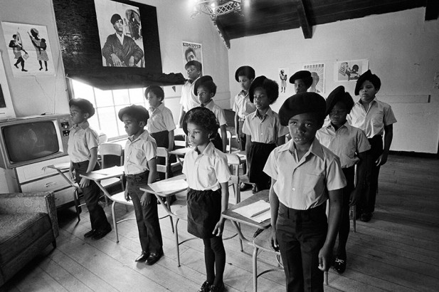 Oakland, 1971. Black Panther children in a classroom at the Intercommunal Youth Institute, the Black Panther school. Stephen Shames from the book Power to the People: The World of the Black Panthers (Abrams). Courtesy Steven Kasher Gallery.