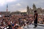 Subcomandante Marcos addresses a crowd in Mexico City's Zócalo
