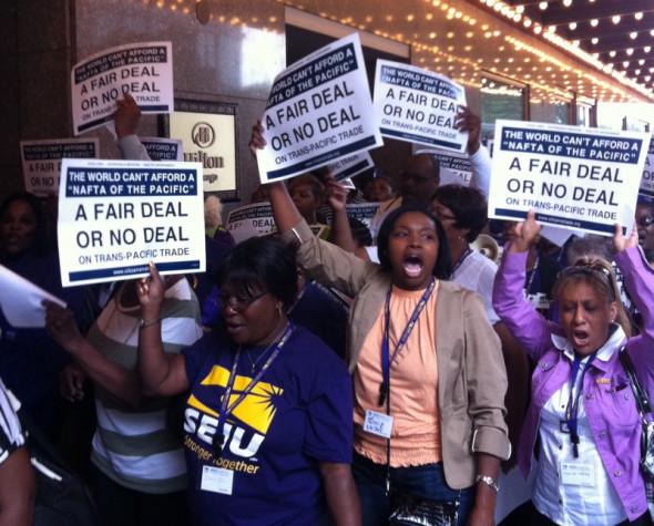 Hundreds of Chicagoans protested the TPP in September 2011