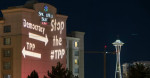 Campaign to stop the TPP,  light brigade in Seattle. Photo Backbone Campaign.