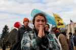 A woman prays during a protest in Bismarck against plans to pass the Dakota Access pipeline under Lake Oahe. Photograph: Stephanie Keith/Reuters