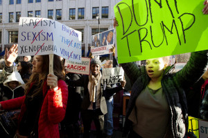 Demonstrators protest outside of the Verizon Center in Washington, March 21, 2016,