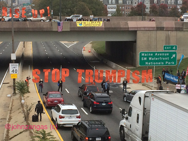 Popular Resistance's Stop the TPP campaign blocks Rt. 395 on the first day of lame duck session, November 14, 2016.  Photo by John Zangas.