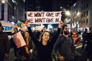 Trump Protest We Won't Give Up, We Won't Give In
