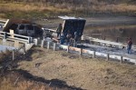 The Backwater Bridge near Cannon Ball, North Dakota, remains closed until further notice after authorities said it was set afire on October 27, 2016. Photo courtesy Morton County Sheriff's Department