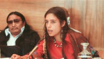 Winona LaDuke addresses a U.N. conference on discrimination against Indigenous populations in the Americas, Geneva, Switzerland, Sept. 1977. | Photo: Reuters