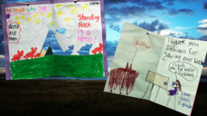 Two among hundreds of cards made for the tribe by local grammar-school children.