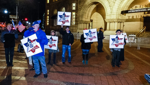Trump supporters gather outside Trump International Hotel in Washington, DC./Photo by Mark Hand