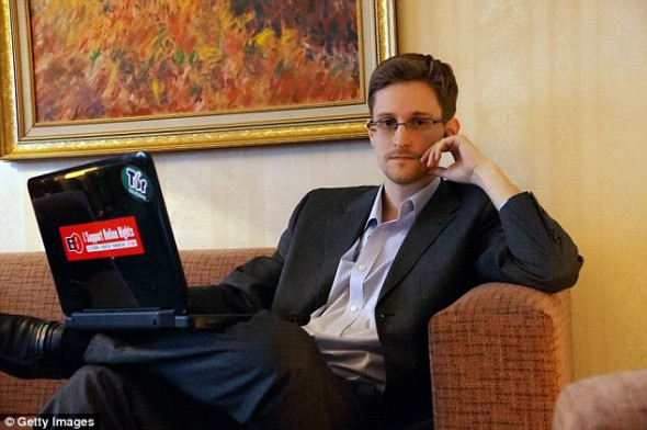 Jonasson said he made it clear he was 'on the side' of WikiLeaks and Assange and has several times raised the issue of giving Edward Snowden (pictured) asylum in Iceland