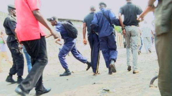 Police have broken up protesters workshops