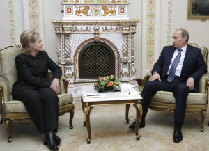 Hillary Clinton and Putin meet outside of Moscow on March 19, 2010. REUTERS/RIA Novosti/Pool/Alexei Nikolsky