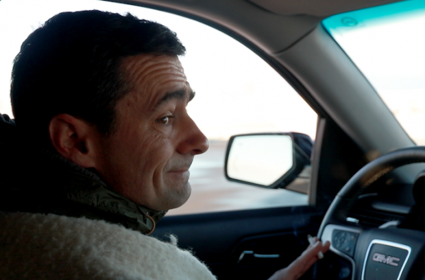 Wesley Clark drives to the Standing rock camp, Dec. 4, 2016.