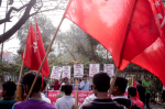 Garment factory workers protest in Dhaka on 23 December. A week-long shutdown at 50 factories ended on Tuesday. Photograph: Abir Abdullah/EPA