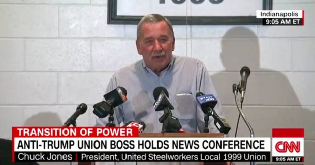 "United Steelworkers Local 1999 president Chuck Jones joked Friday, ""I was not offered a job as secretary of labor. That's off the table."" (Screenshot: CNN)"