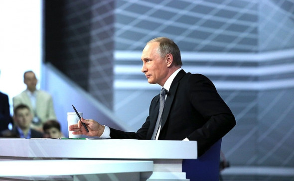 Russian President Vladimir Putin answering questions from Russian citizens at his annual Q&A event on April 14, 2016. (Russian government photo)