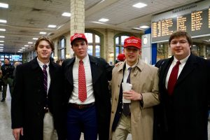 Trump supporters at Penn Station