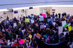 More than a thousand people protested at BWI Airport on Sunday./Photo by Anne Meador