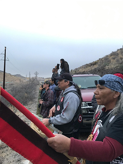 Society of Native Nations members look on as three Water Protectors are arrested at an Energy Transfer Partner Trans-Pecos pipeline work site in Presidio County, on Saturday, January 14, 2017. (Photo: Courtesy of Society of Native Nations)