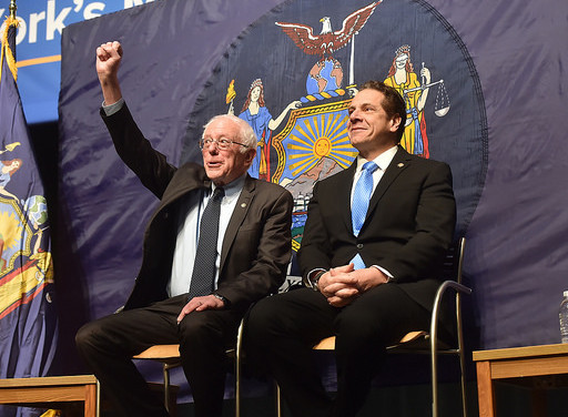 Sanders and Cuomo during announcement of free tuition plan on January 3, 2017. Source Governor of New York.
