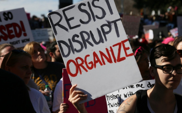 """People marching in Austin, Texas on Saturday were among the millions nationwide who mobilized to express their dismay at the reality of President Donald Trump. """"There are millions of people in this country who currently feel lost and alone and would like to contribute to movements that envision a more just society,"""" writes Lobel. But in addition to organizing this new wave of energy, he adds, there must also be """"a coherent strategy and vision"""" if transformative change is to be achieved. (Photo: Steve Rainwater/flickr/cc)"""