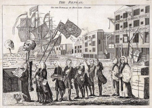 Colonists revolt against the Stamp Act.