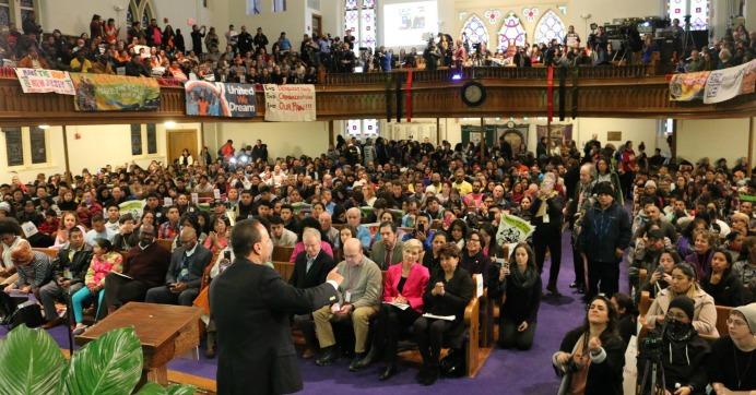 Inauguration protest at the Metropolitan A.M.E. Church in Washington, D.C. on Saturday morning. (Photo: @unitehere100 )