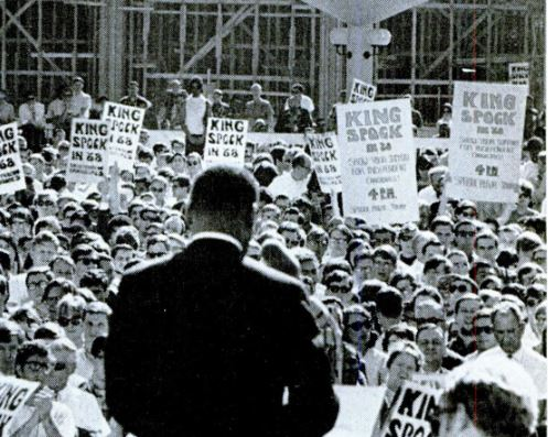 Martin Luther King speaking in Berkeley in May 1967, note the King-Spock for president signs. SF Chronicle