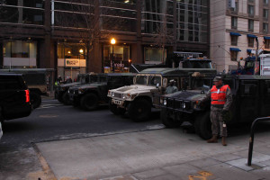 Military vehicles in DC during Trump Inauguration by Eleanor Goldfield for Art Killing Apathy
