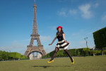 Paris springtime Eiffel Tower with girl