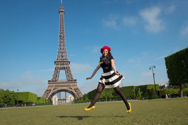 Paris springtime Eiffel Tower with girl