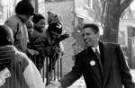 30 November 1991: Barack Obama, then a young social activist, speaks to local youths in the South Side of Chicago about 'Project Vote'. Photograph: Polaris / eyevine