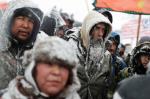 Military veterans protest the Dakota Access oil pipeline alongside Native American tribal elders in Cannon Ball, N.D., in early December 2016. (David Goldman / AP)