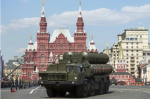 Russian S-400 air defense missile systems drive during a Victory Day parade in Red Square in Moscow in 2016. (AP Photo/Pavel Golovkin)