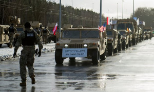 US military convoy arrives in Poland, January 2017. Photograph by Natalia Dobryszycka for AFP and Getty Images
