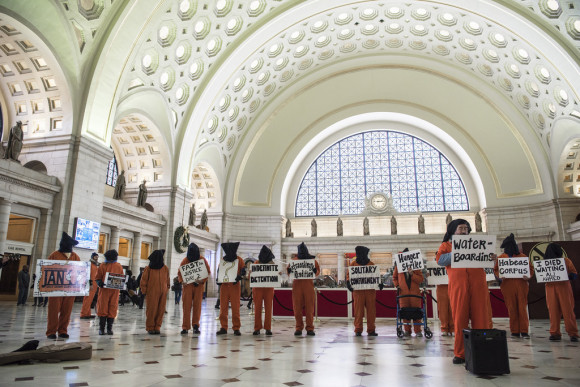 Witness Against Torture at Union Station in Washington, DC, January 2017