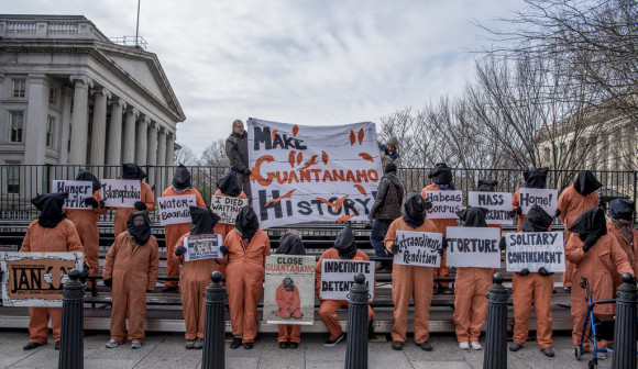 Witness Against Torture at the bleechers for Trump inauguration between the Department of Treasury and White House. January 2017