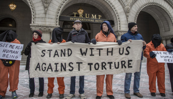 Witness Against Torture outside of the Trump International Hotel on Pennsylvania Ave.  January 2017