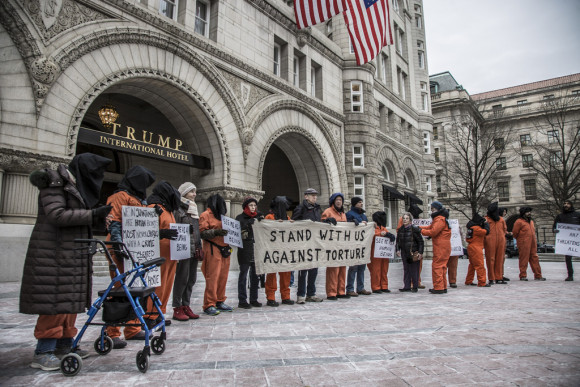 Witness Against Torture ourside of Trump Hotel January 2017Witness Against Torture ourside of Trump Hotel January 2017