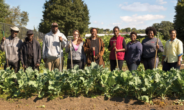 """The nonprofit Urban Farming Institute of Boston graduated seven farmers from its training program last year. Eight more are graduating this year. """"Amassing land for our farm is a first priority,"""" says Executive Director Patricia Spence, far right. Photo by Paul Dunn."""