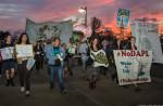 Opponents of the Bayou Bridge pipeline walk toward the entrance of Louisiana DNR's permit hearing on February 8.