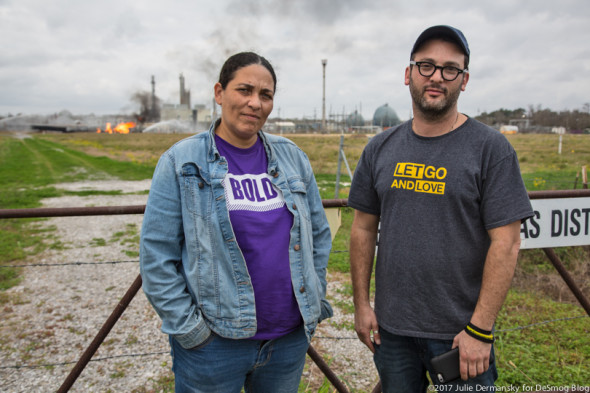 Bold Louisiana Director Cherri Foytlin with Gasland documentary filmmaker Josh Fox, at the site of the Phillips 66 pipeline explosion on Feb 10.