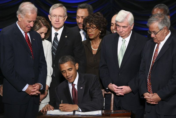 Barack Obama signs the Dodd-Frank Wall Street Reform and Consumer Protection Act on July 21, 2010. Photographer: Win McNamee/Pool via Bloomberg