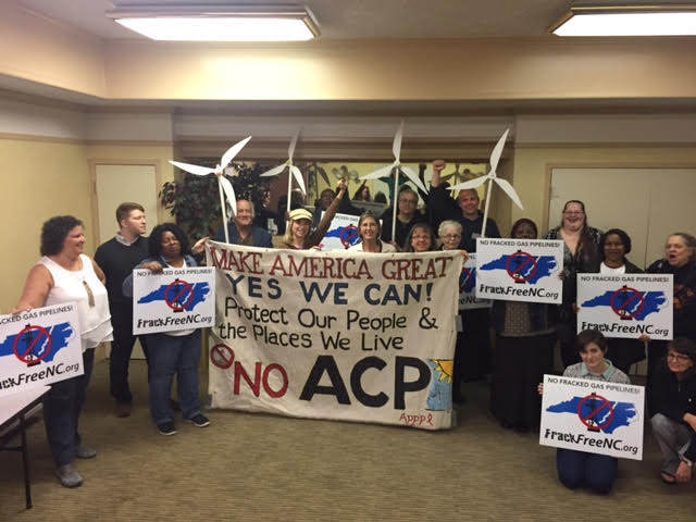 Atlantic Coast Pipeline protest, People's Hearing next door to fake hearing February 2017