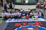 Deportation Youth block the front of deportation bus in San Francisco. Source National Day Laborer Organizing Network