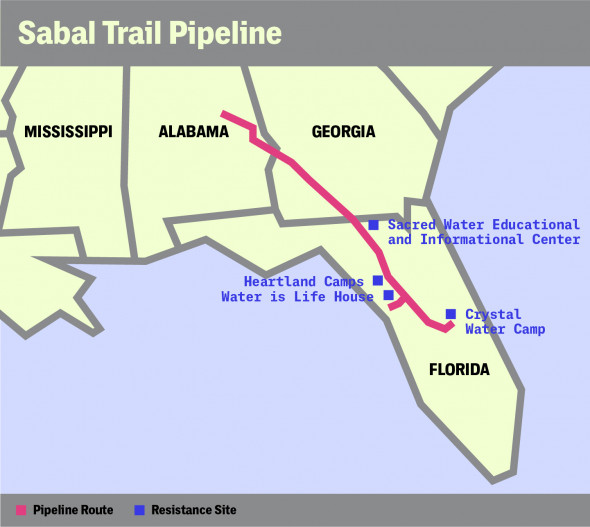 Spectra Energy Partners, NextEra Energy, and Duke Energy are in the midst of building the 515-mile Sabal Trail pipeline, which will carry more than a billion cubic feet per day of natural gas south from a connection to the massive Transco pipeline in Tallapoosa County, Alabama, through Georgia, to a pipeline hub in Florida's Osceola County. Graphic: The Intercept. Source: Sabal Trail web site, February 17, 201