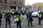 On inauguration day, police kettle protesters at the corner of 12th and L Streets in Washington, DC./Photo by Mark Hand