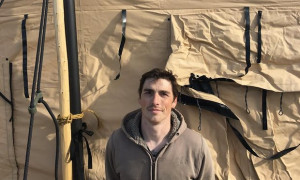 Jake Pogue, a 32-year-old marine corps vet, returned to the Sacred Stone camp on Friday. Photograph: Sam Levin for the Guardian