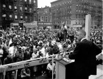 Malcolm X, addresses a rally in Harlem in New York City on June 29, 1963. AP